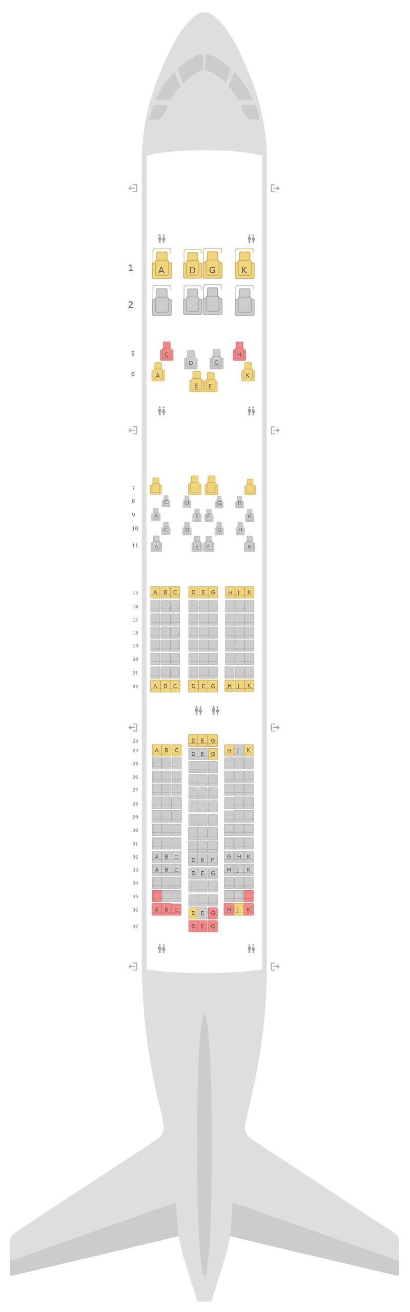 Схема салона Боинг 787-9 (789) 3 Class Этихад