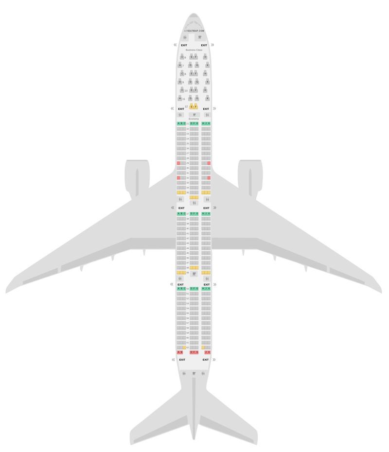 Схема салона Боинг 777-300ER (77W) 2 Class Гаруда Индонезия