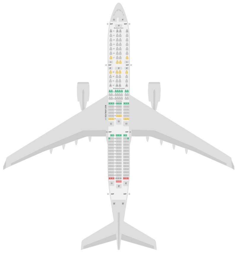 Seat Map Singapore Airlines Airbus A350-900 (359) v1
