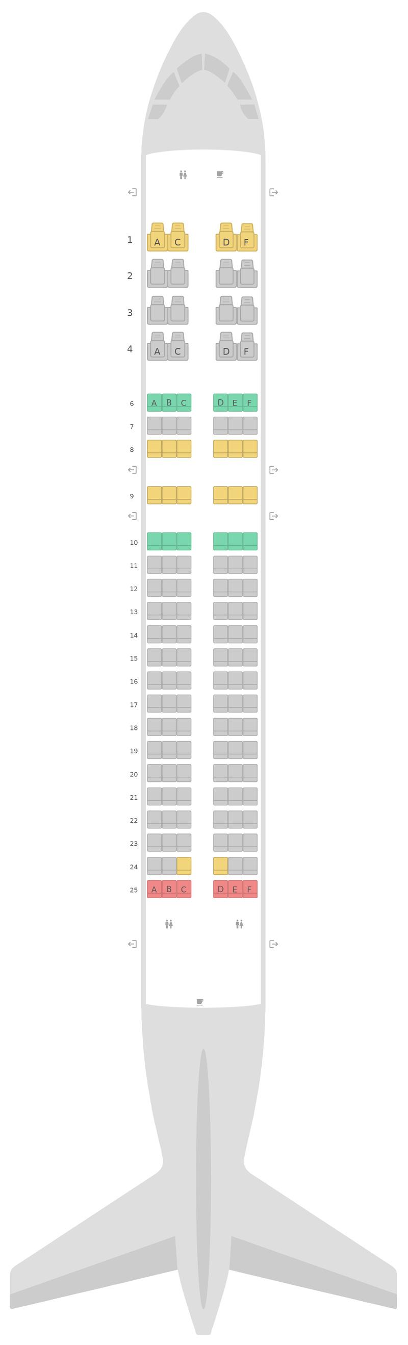 Seat Map Airbus A320 v2 Etihad Airways