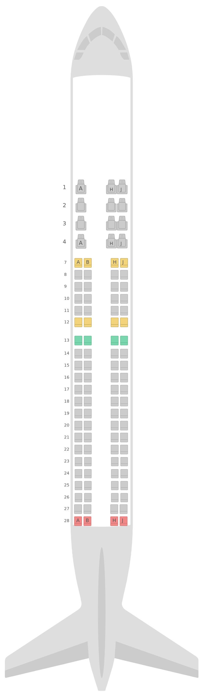 Mapa de asientos Embraer E195 Royal Jordanian Airlines