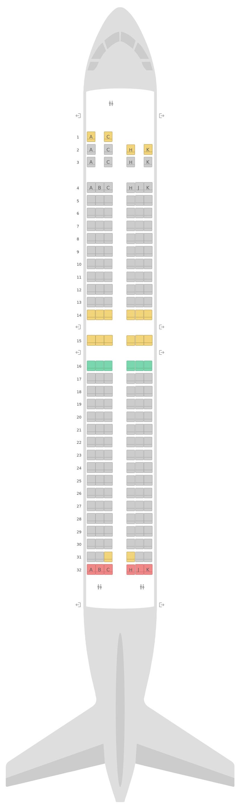 Seat Map Air Transat Boeing 737-800 (738) 2 Class