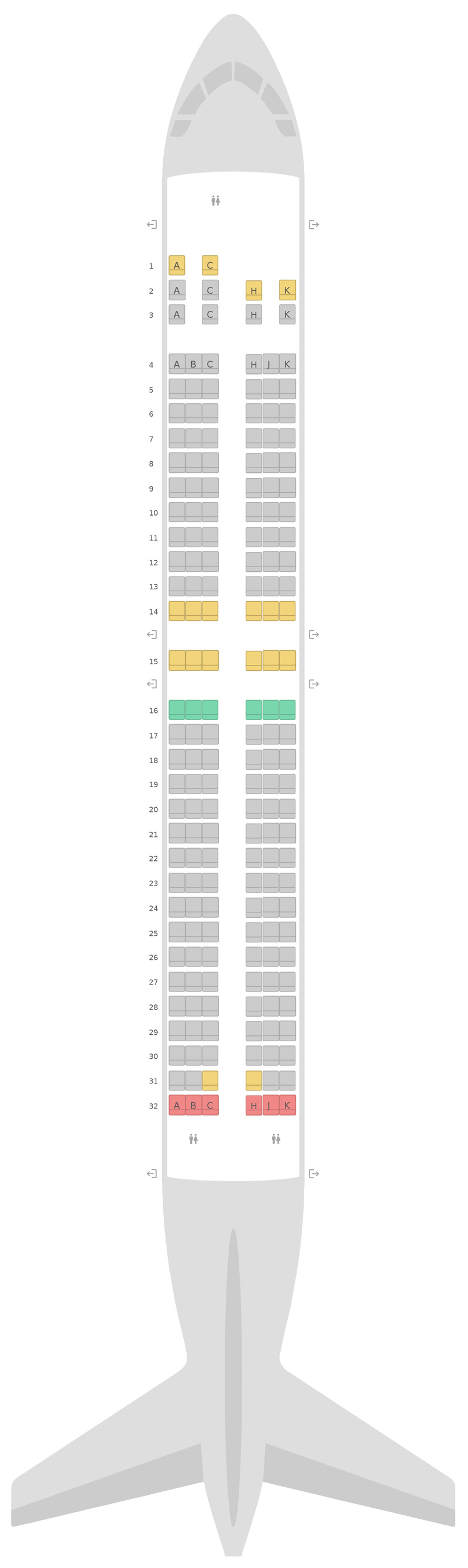 Схема салона Боинг 737-800 (738) 2 Class Air Transat