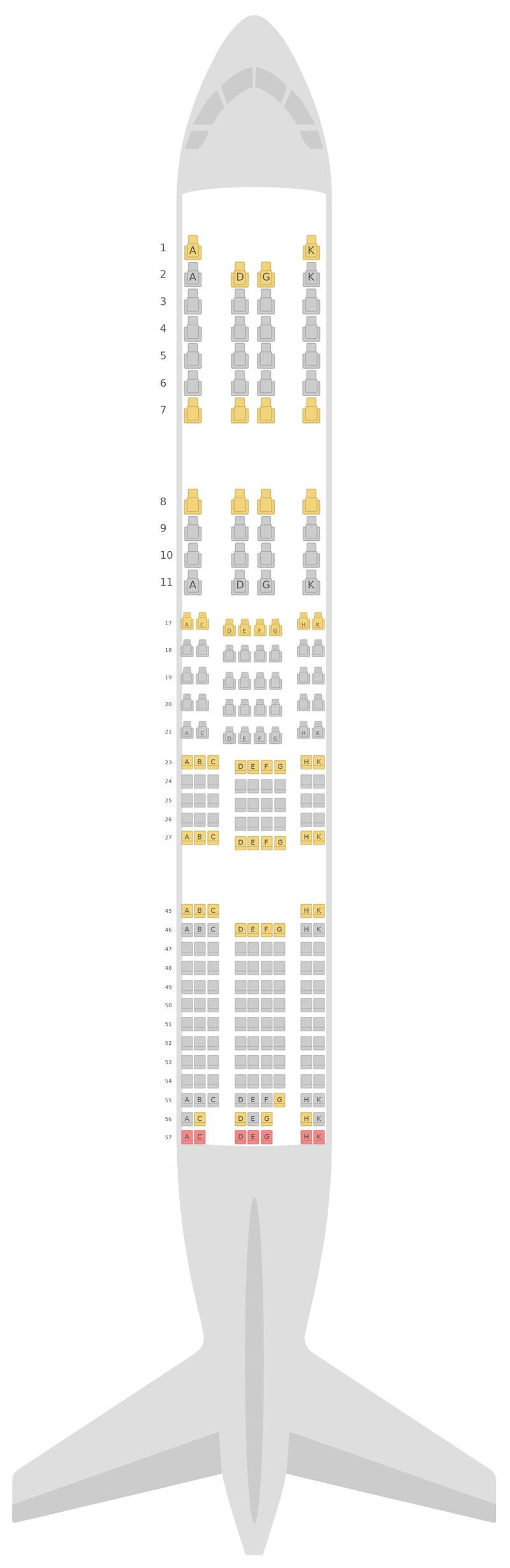 Схема салона Боинг 777-200ER v2 Японские авиалинии