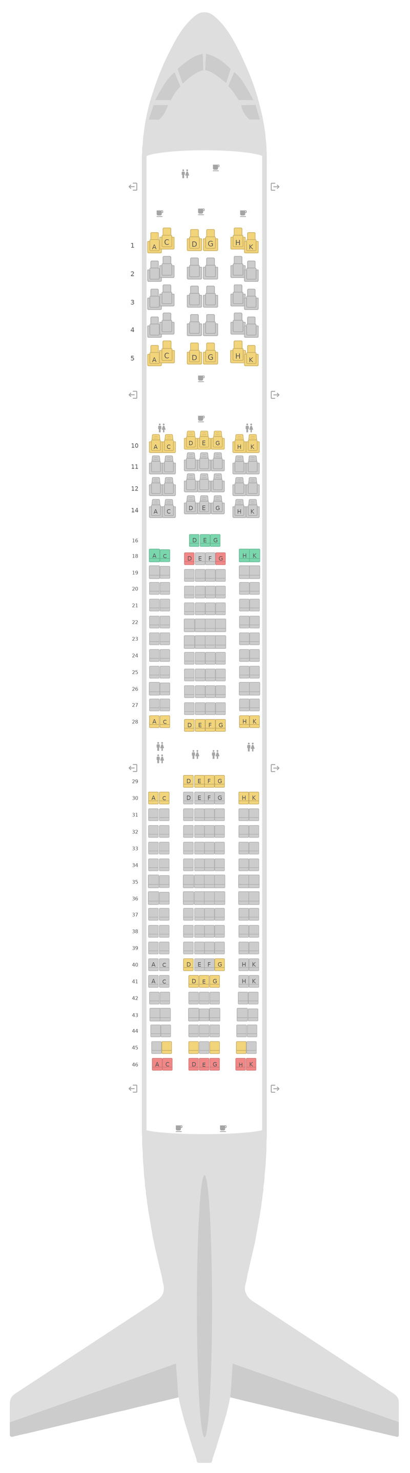 Seat Map Eurowings Airbus A330-300 (333)
