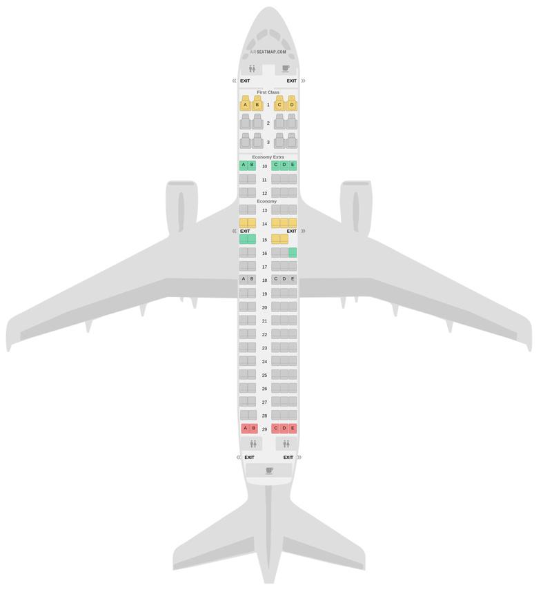 Схема салона Аэробус А220-100 (221) Delta Air Lines