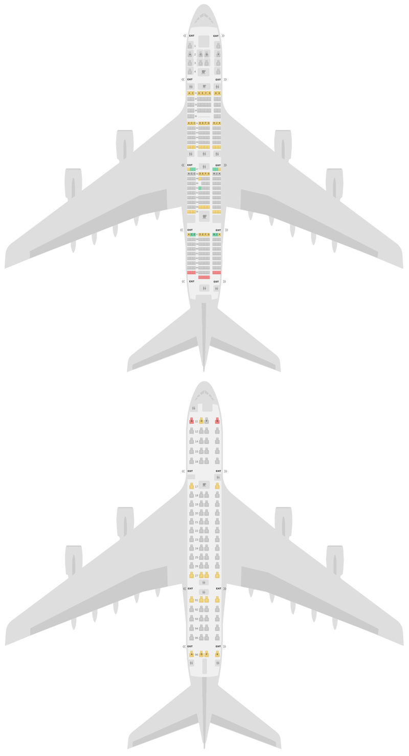 Seat Map Singapore Airlines Airbus A380-800 (388) v2
