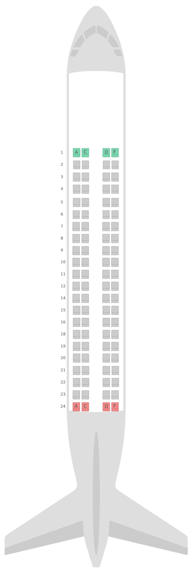 Mapa de asientos Embraer E175 (E75) Alitalia