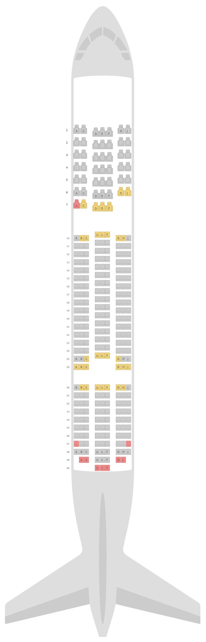 Mapa de asientos Boeing 787-8 (788) TUI Airways