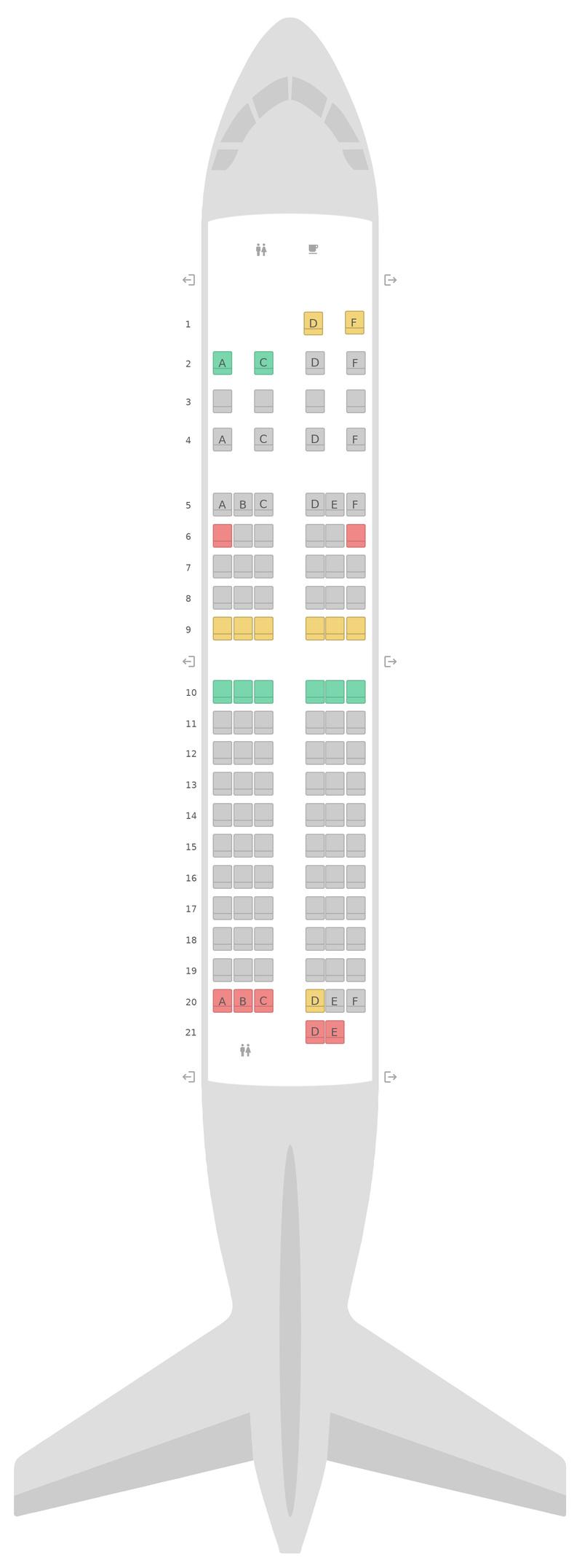 Mapa de asientos Boeing 737-600 (736) WestJet