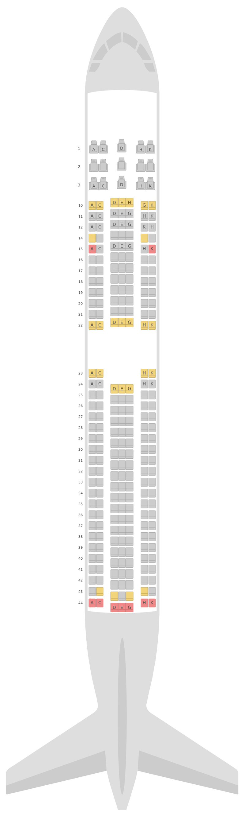 Seat Map Asiana Airlines Boeing 767-300 (763) 2 Class
