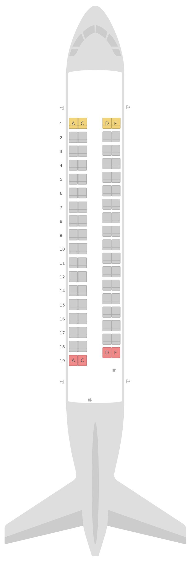 Схема салона АТР 72-600 Эйр Маврикий