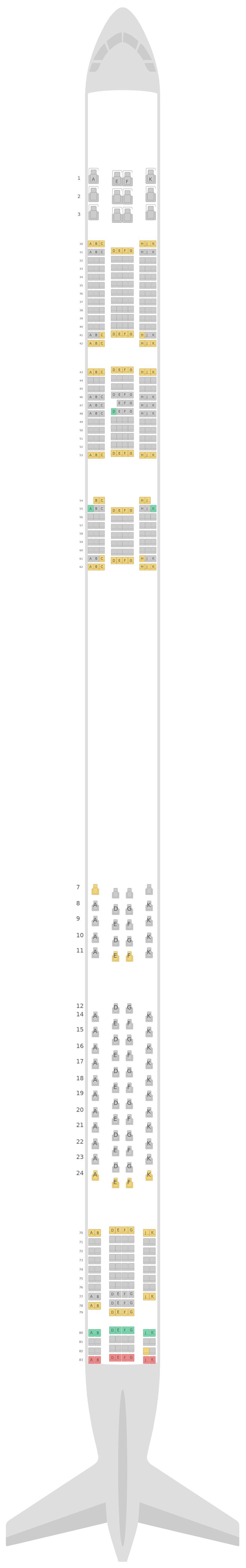Схема салона Аэробус А380-800 (388) Asiana Airlines