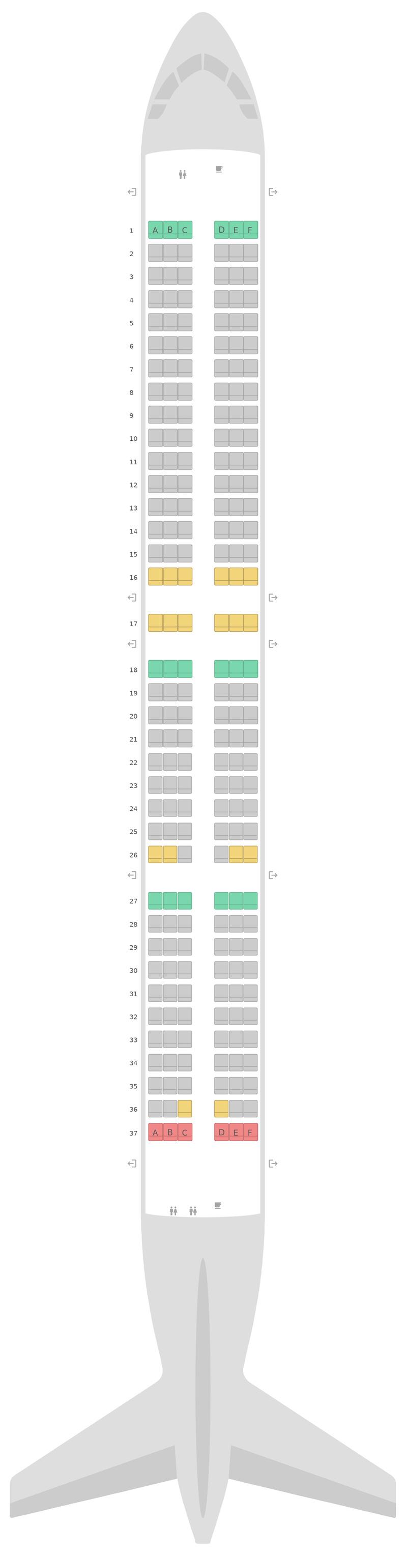 Mapa de asientos Airbus A321neo IndiGo