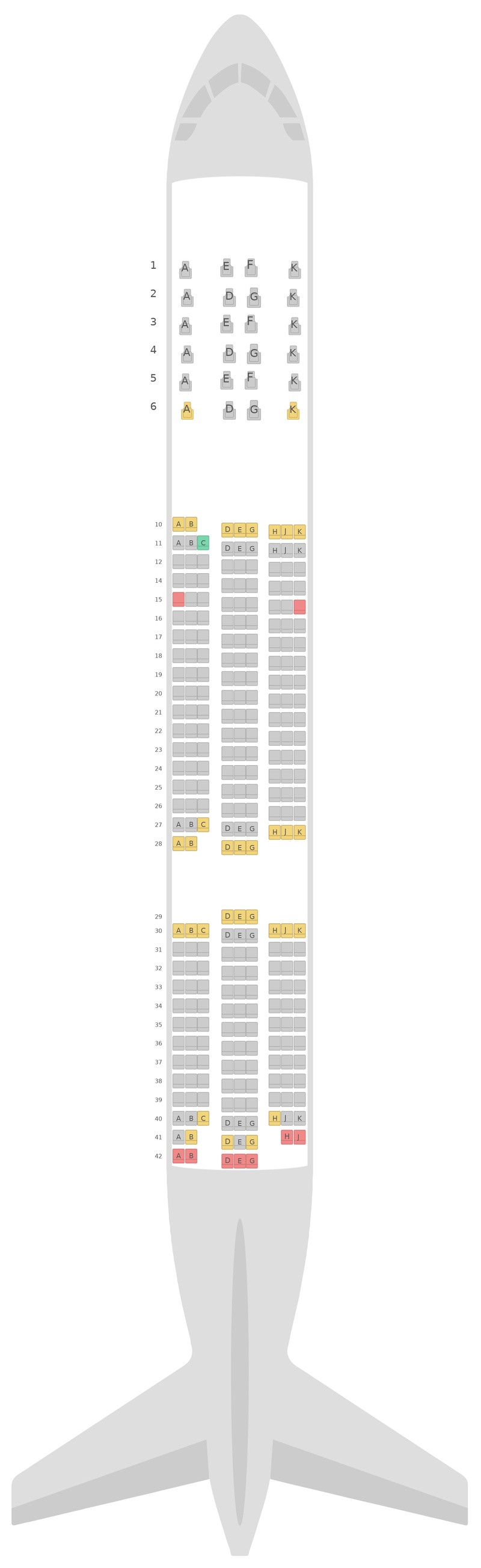 Seat Map Asiana Airlines Boeing 777-200ER v2