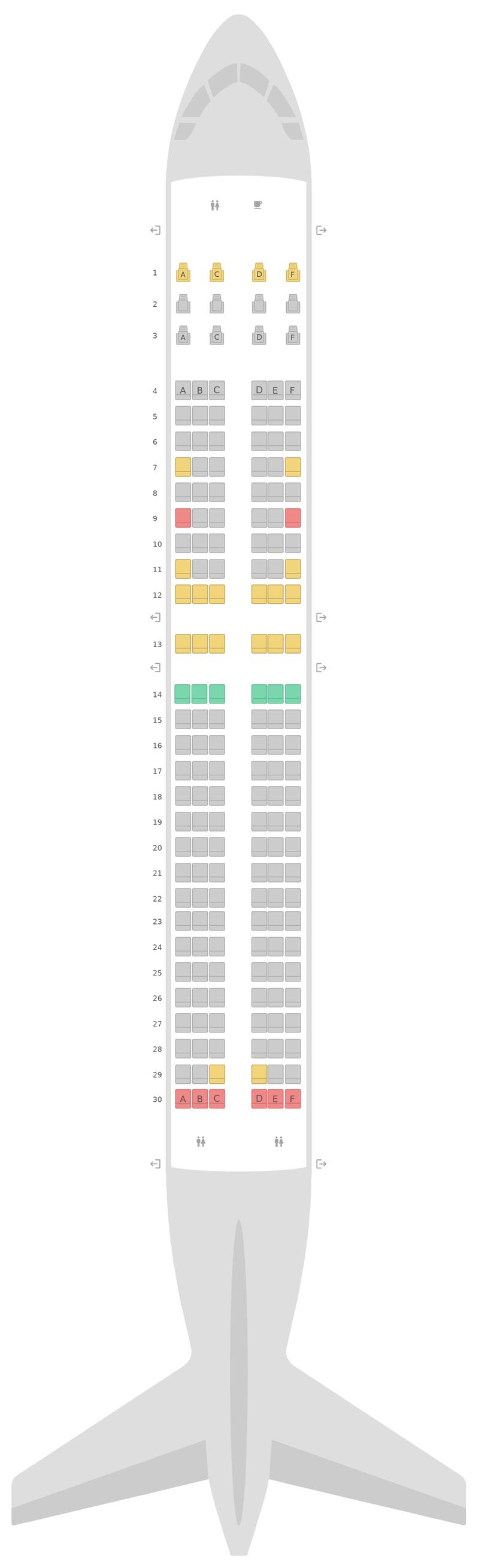 Mapa de asientos Boeing 737-800 (738) WestJet