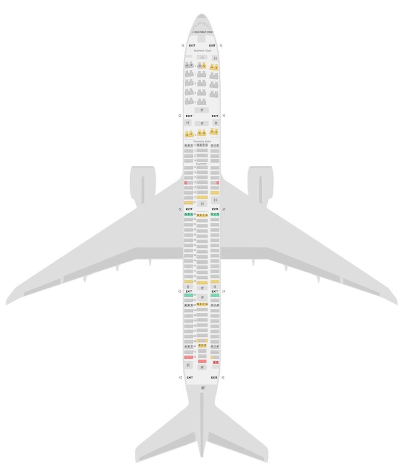 Mapa de asientos Boeing 777-300ER (77W) KLM