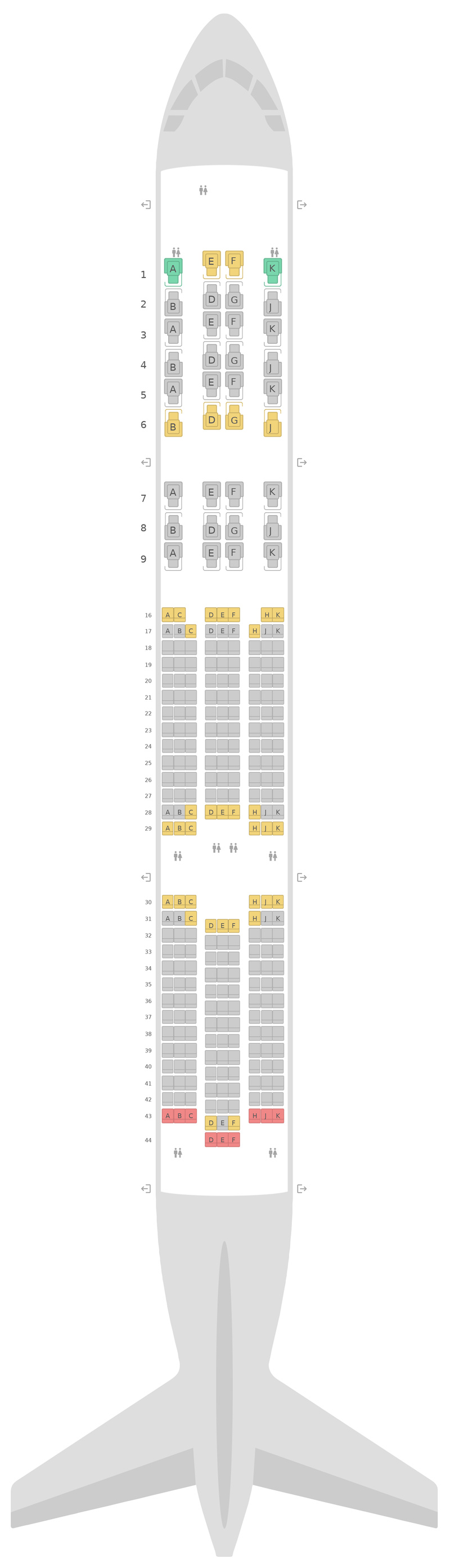 Схема салона Аэробус А350-900 (359) Qsuite v2 Катарские Авиалинии