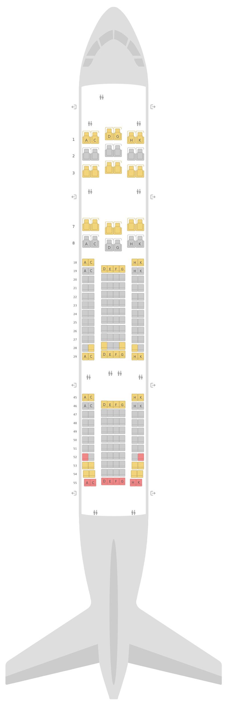 Sitzplan Boeing 787-8 (788) v2 Japan Airlines (JAL)