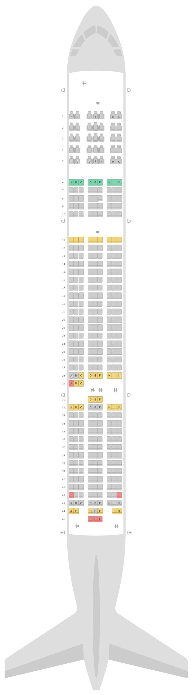 Mapa de asientos Boeing 787-9 (789) Scoot
