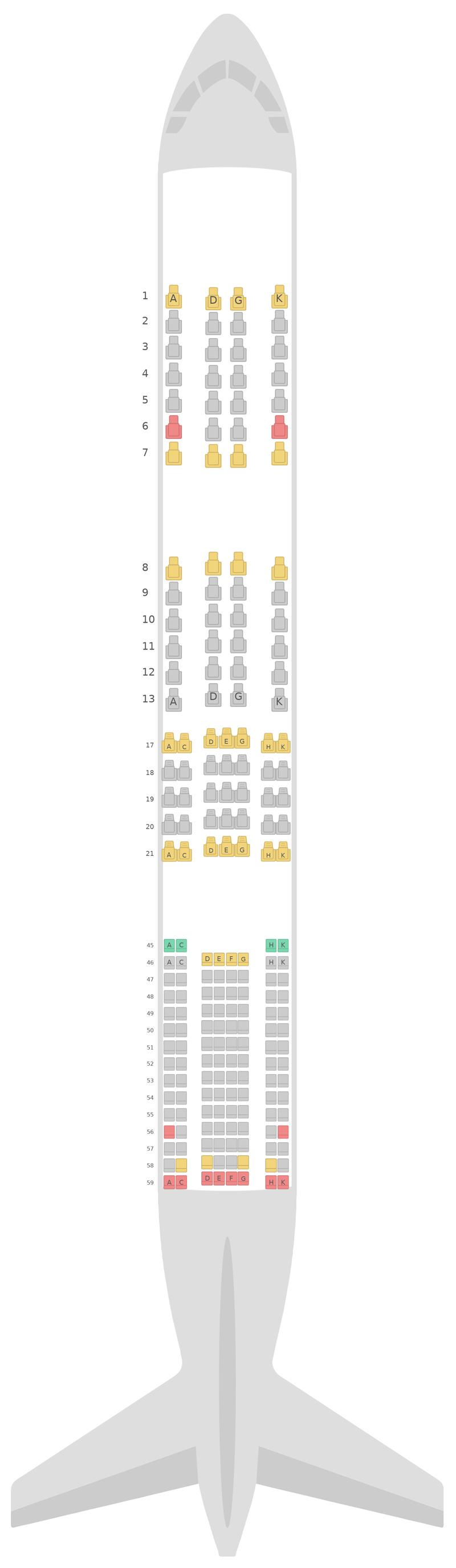 Схема салона Боинг 787-9 (789) v2 Японские авиалинии