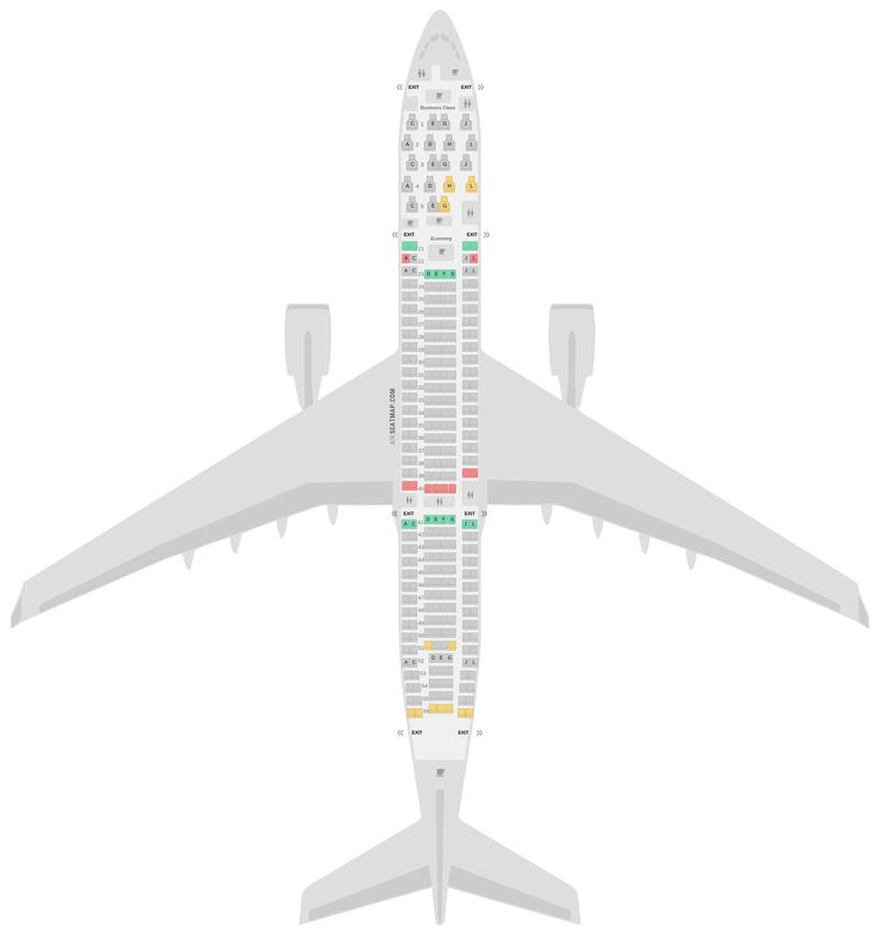 Mapa de asientos Airbus A330-200 (332) Iberia
