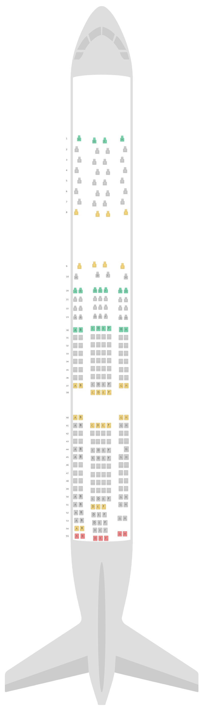 Seat Map Scandinavian Airlines (SAS) Airbus A340-300 (343)