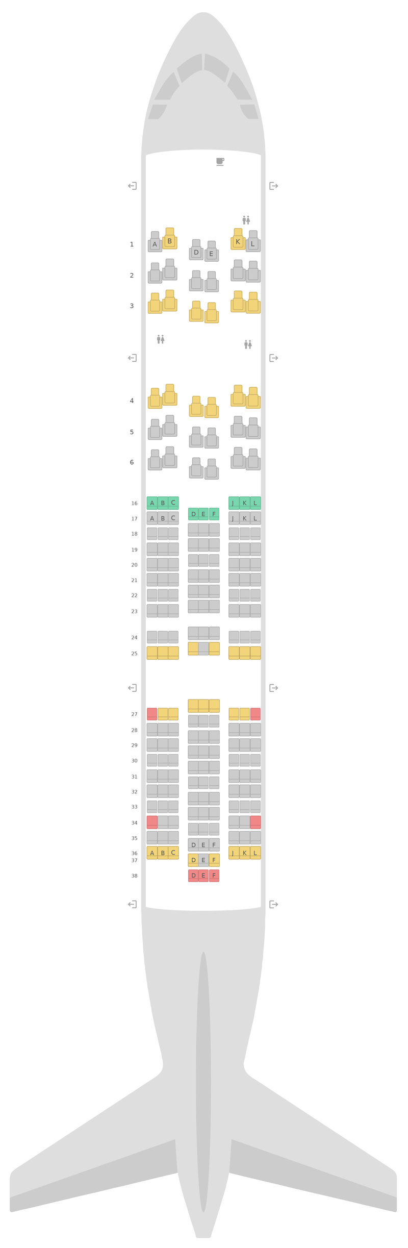 Seat Map United Boeing 787-8 (788) 3 Class