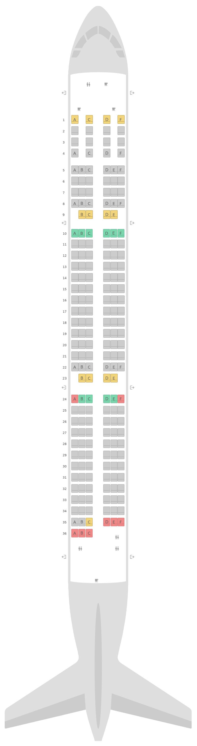 Схема салона Аэробус А321 Финнэйр