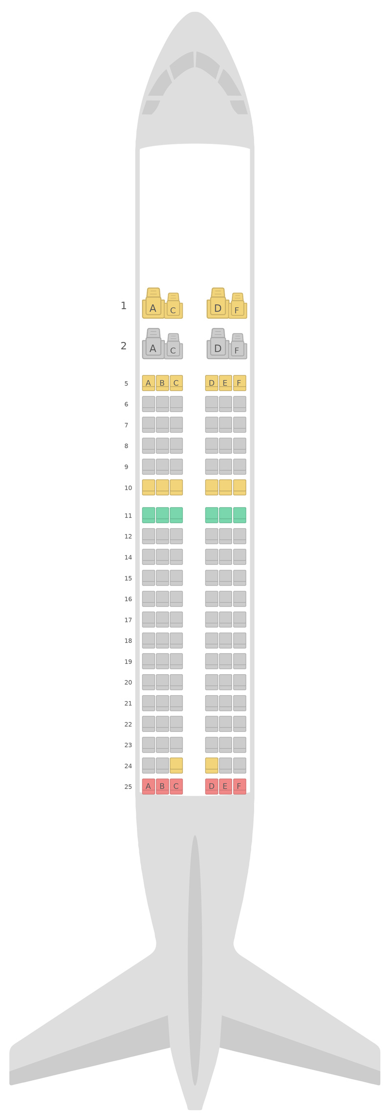Seat Map SilkAir Airbus A319