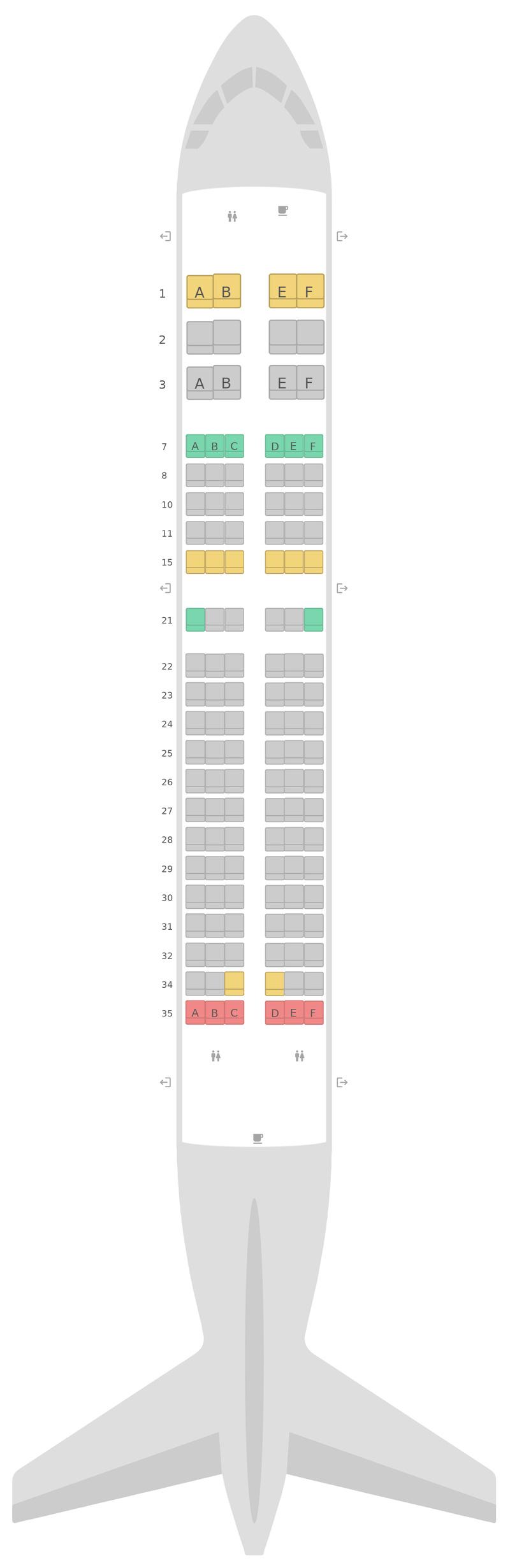 Mapa de asientos Airbus A319 v2 United