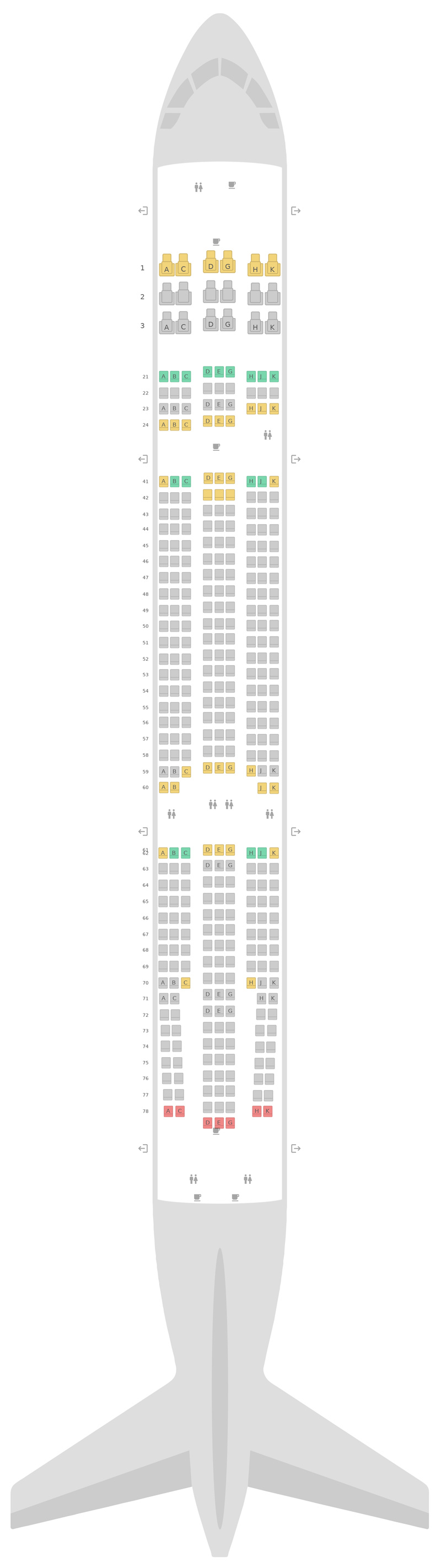 Seat Map Philippine Airlines (PAL) Airbus A330-300 (333) v2