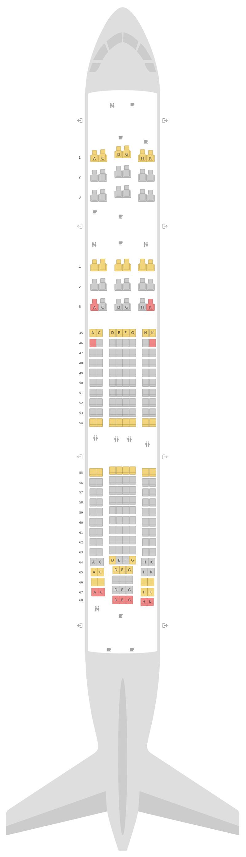 Mapa de asientos Airbus A330-200 (332) South African Airways