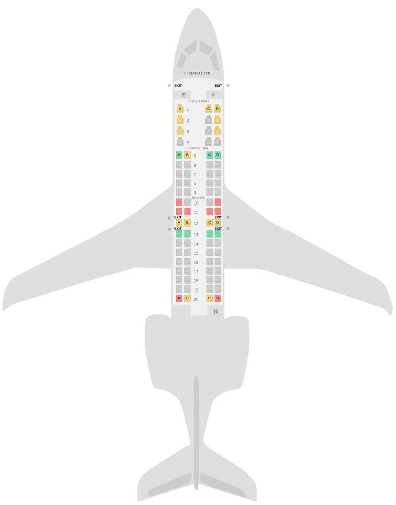 Sitzplan Bombardier CRJ900 (CR9) v1 Delta Air Lines