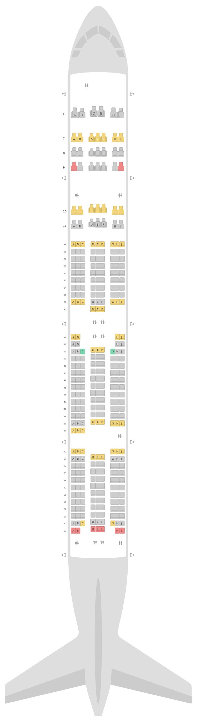 Mapa de asientos Boeing 777-300 (773) Korean Air