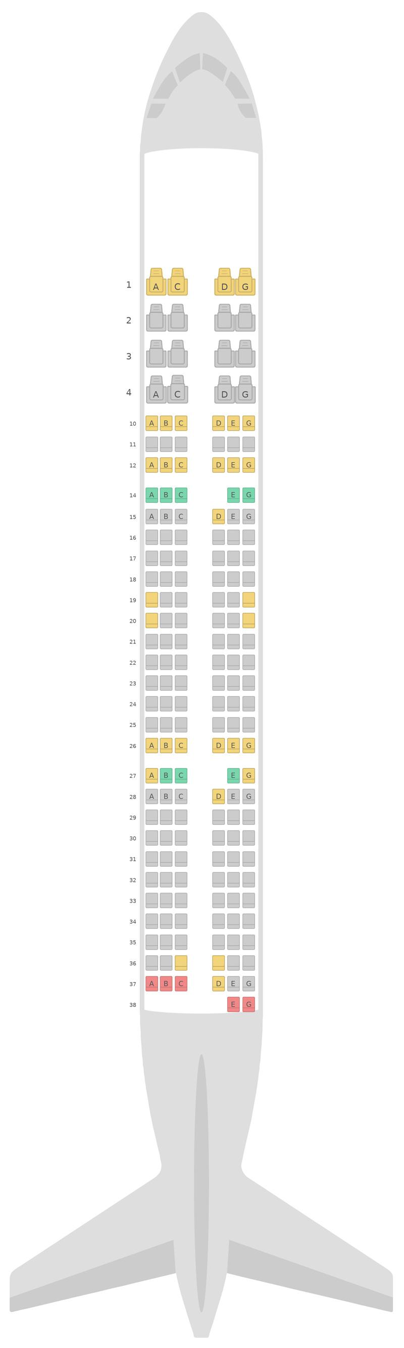 Схема салона Аэробус А321 v1 Вьетнамские авиалинии