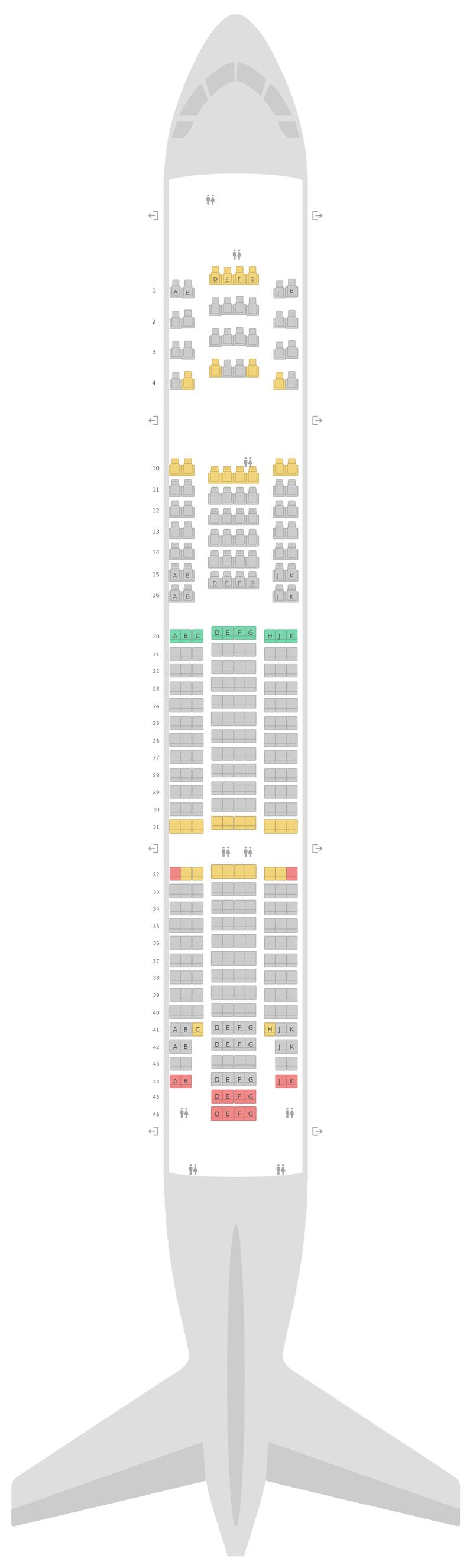 Схема салона Боинг 777-200 (777) 3 Class v2 Бритиш Эйрвейз