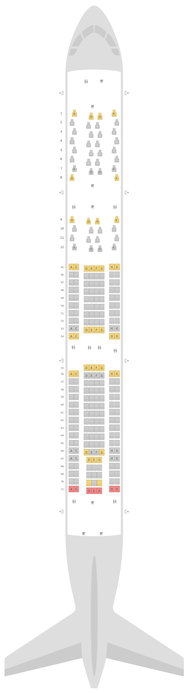 Seat Map South African Airways Airbus A330-300 (333)