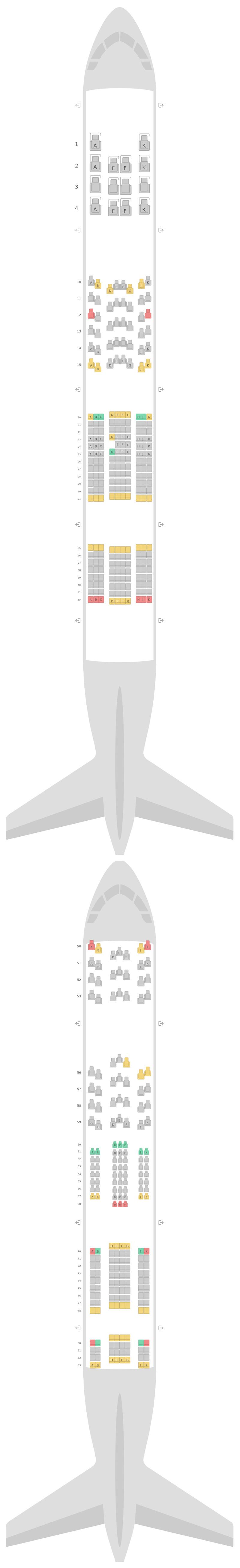 Схема салона Аэробус А380-800 (388) Бритиш Эйрвейз