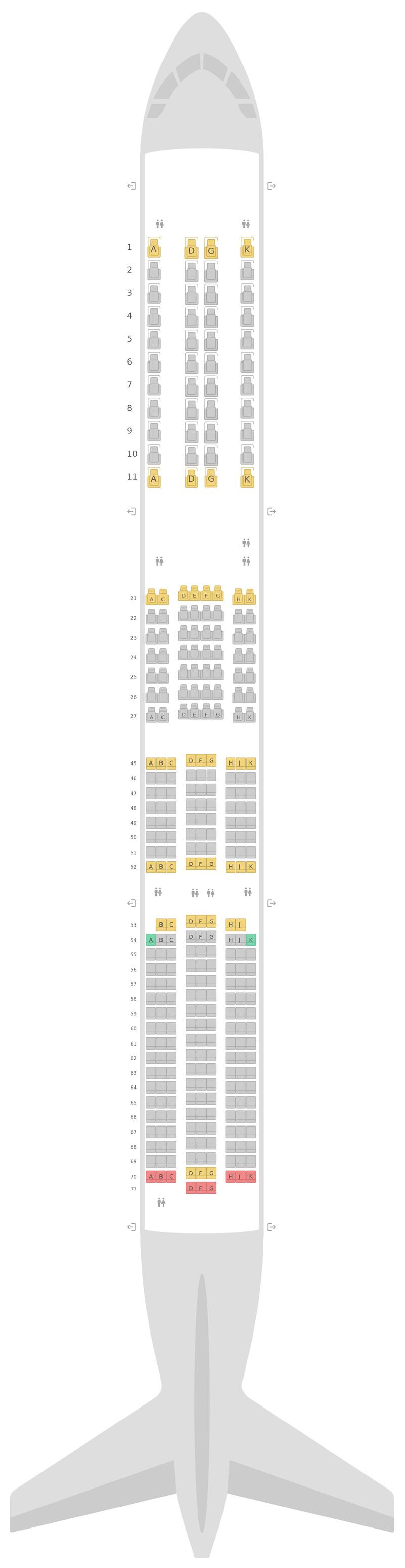Схема салона Аэробус А350-1000 (351) Вирджин Атлантик