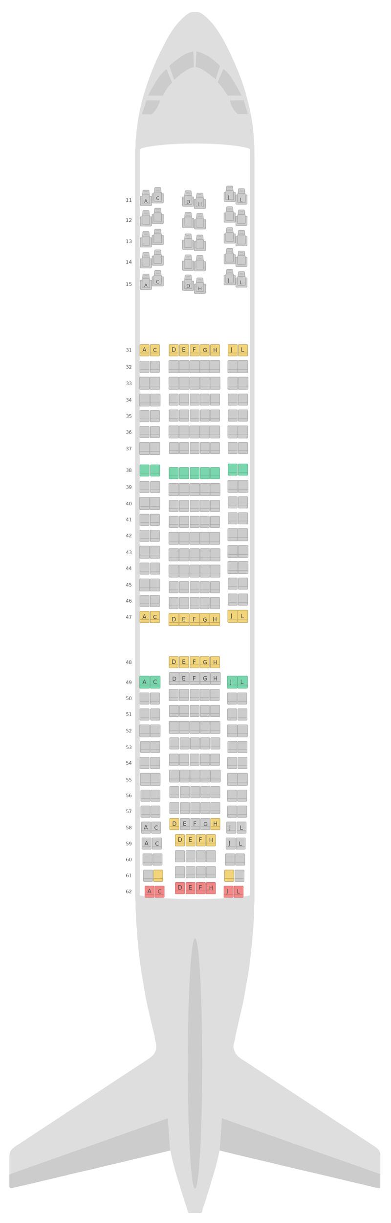 Схема салона Боинг 777-200 (777) Эйр Чайна