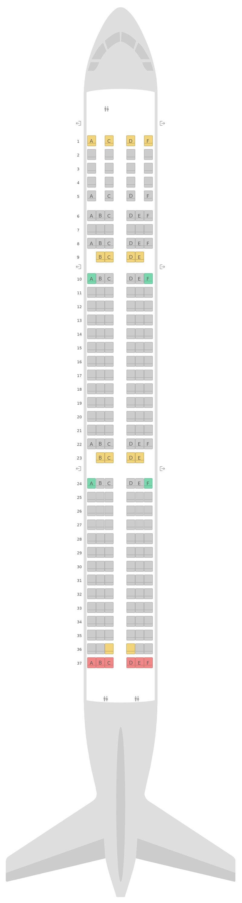 Seat Map Airbus A321neo v2 British Airways