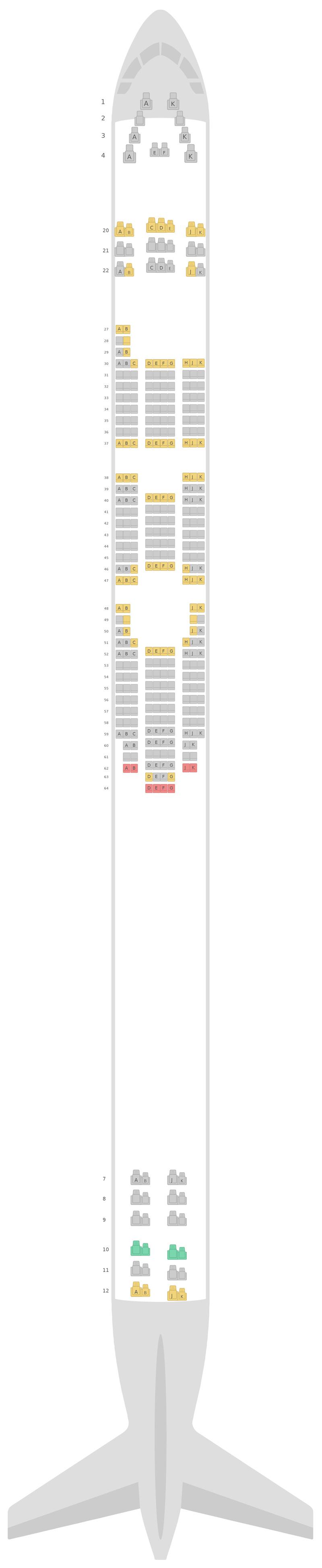 Sitzplan Boeing 747-400 (744) Asiana Airlines
