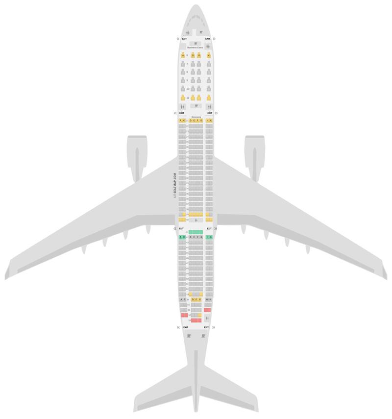 Sitzplan Airbus A330-900neo (339) Garuda Indonesia