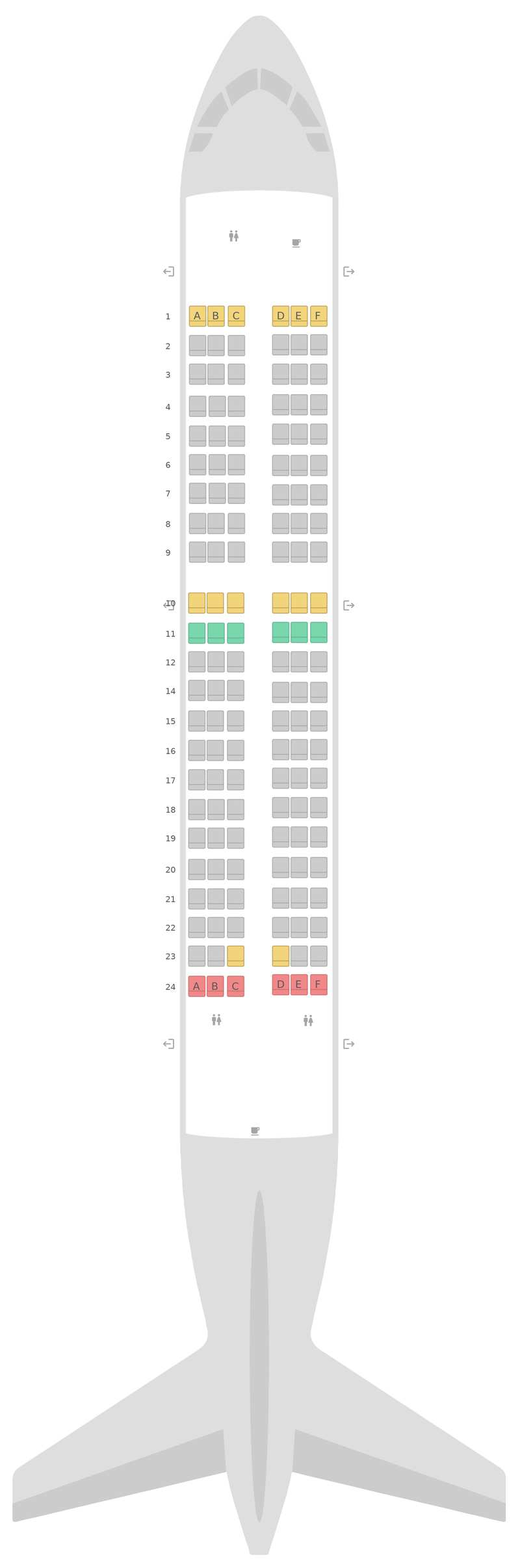 Seat Map Aegean Airlines Airbus A319