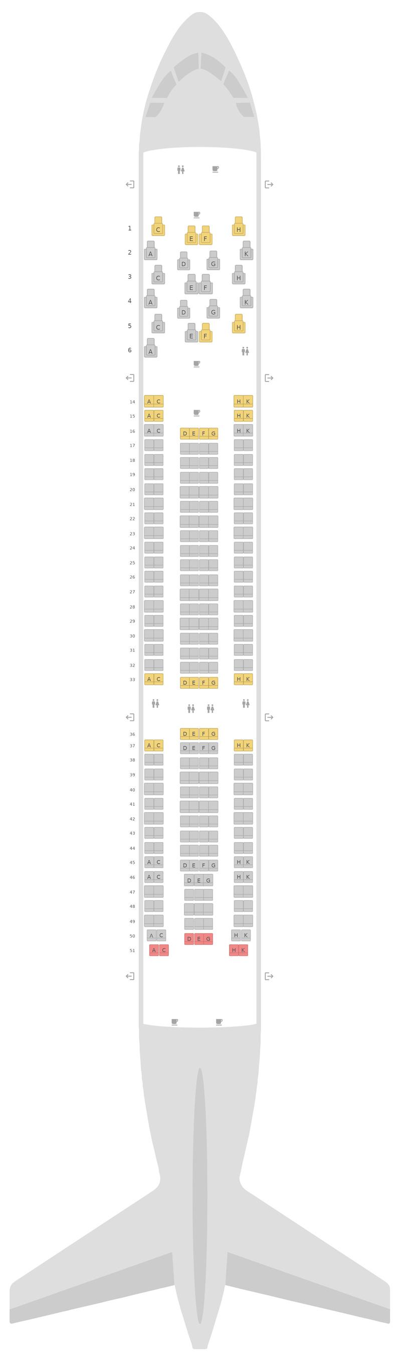 Схема салона Аэробус А330-200 (332) Малазийские авиалинии