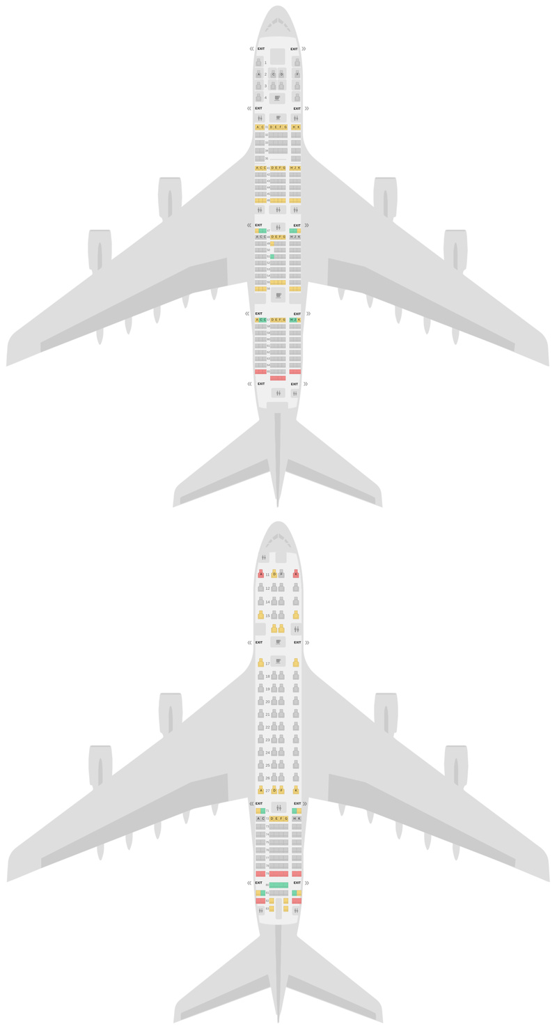 Seat Map Singapore Airlines Airbus A380-800 (388) v1