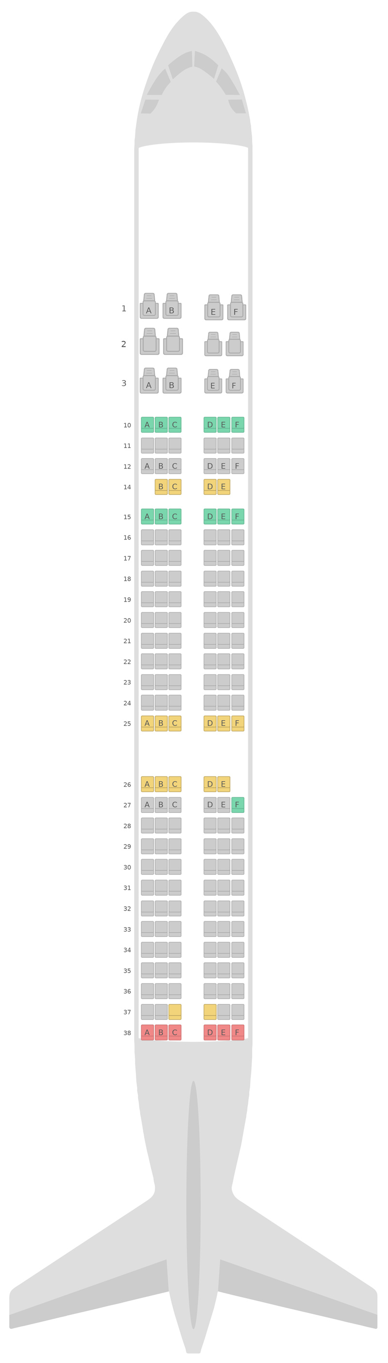 Seat Map Asiana Airlines Airbus A321 2 Class v2