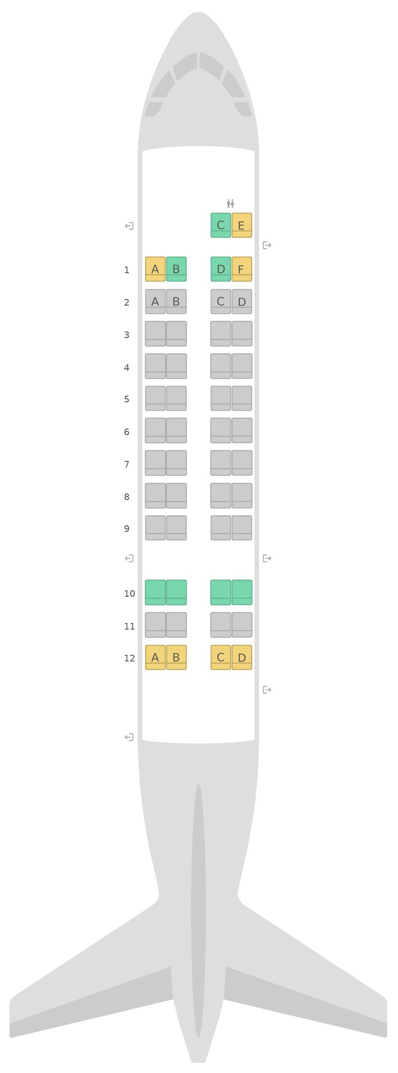 Seat Map Qantas de Havilland Dash 8-300 (DH3)