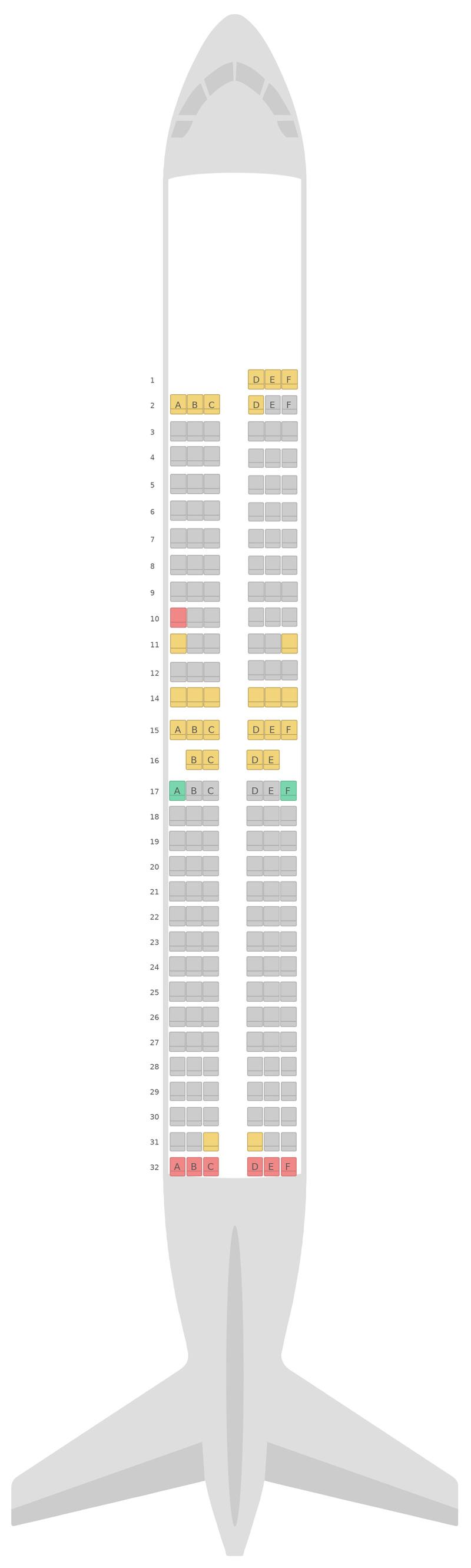 Mapa de asientos Boeing 737-800 (738) Scandinavian Airlines (SAS)